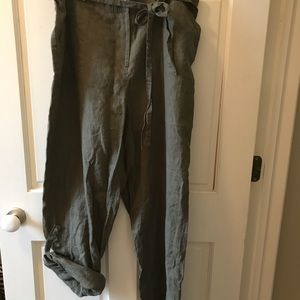 NWT Lord &Taylor Green Linen Pants 16W